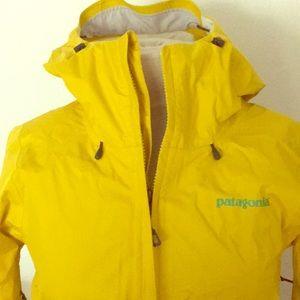 Yellow Patagonia rain jacket women's small